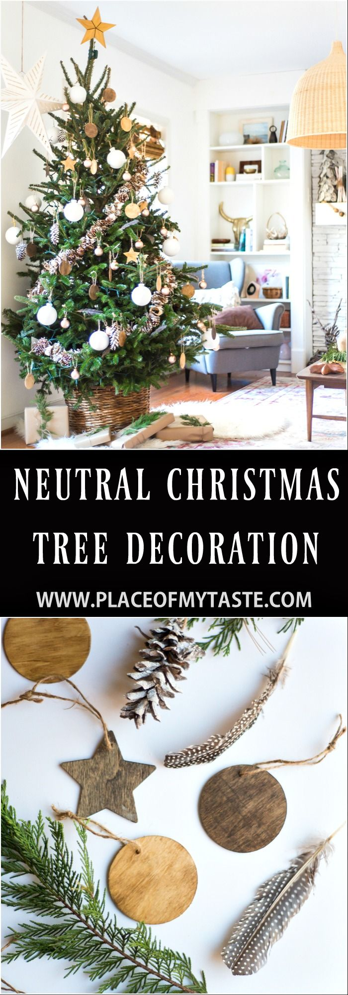 Come and see this beautiful neutral Christmas tree decoration yourself. So pretty and there are a few simple ornaments you can do yourself!