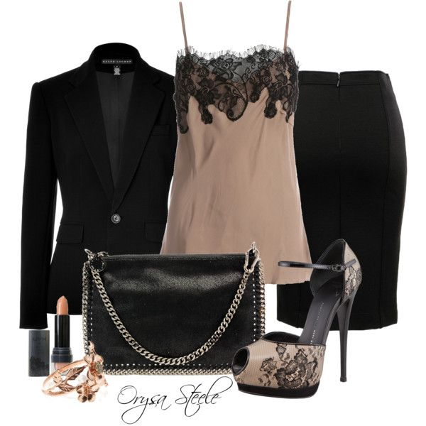 Lace Camisole, created by orysa on Polyvore: Fashion Style, Offices, Elegant Fashion, Outfit, Dresses, Lace Camisol, Polyvore, Black, Curly Hair