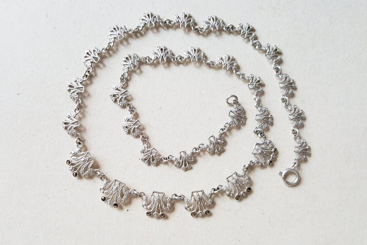 Vintage silver and marcasite collier necklace, Scandinavia, 1950s (F1059A)
