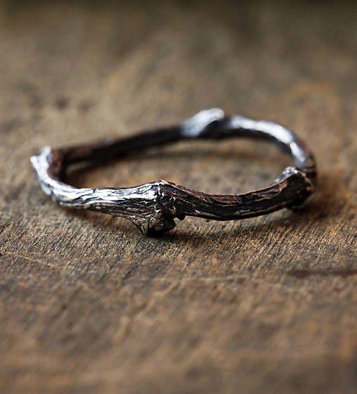 Vetvičkový prsteň strieborný s patinou, obrúčka alebo jen tak...