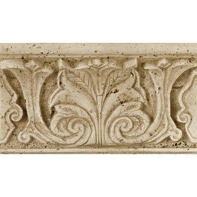 """Daltile Fashion Accents 8"""" x 4"""" Romanesque Decorative Shelf Rail in Acanthus Travertine"""