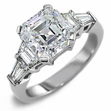 Cher Cut Trapezoid And Baguette Solitaire Engagement Wedding Ring By Ziamond Cubic Zirconia Jewelry In