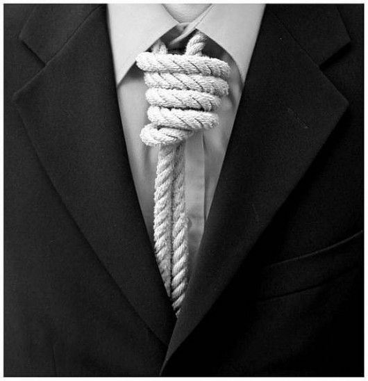 Indeed this is the meaning of the tie. You are hung up to a master. Free yourself, never wear a tie. Choose service out of will, not fear or pay.