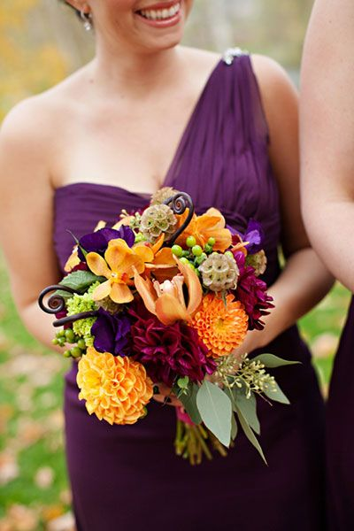 Bold fall colors, purple bridesmaid dress, fall floral bouquet