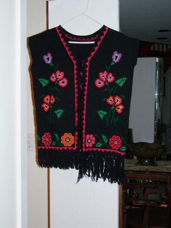 Vintage Hand Woven floral vest ala 1980s Central by RegalRetro