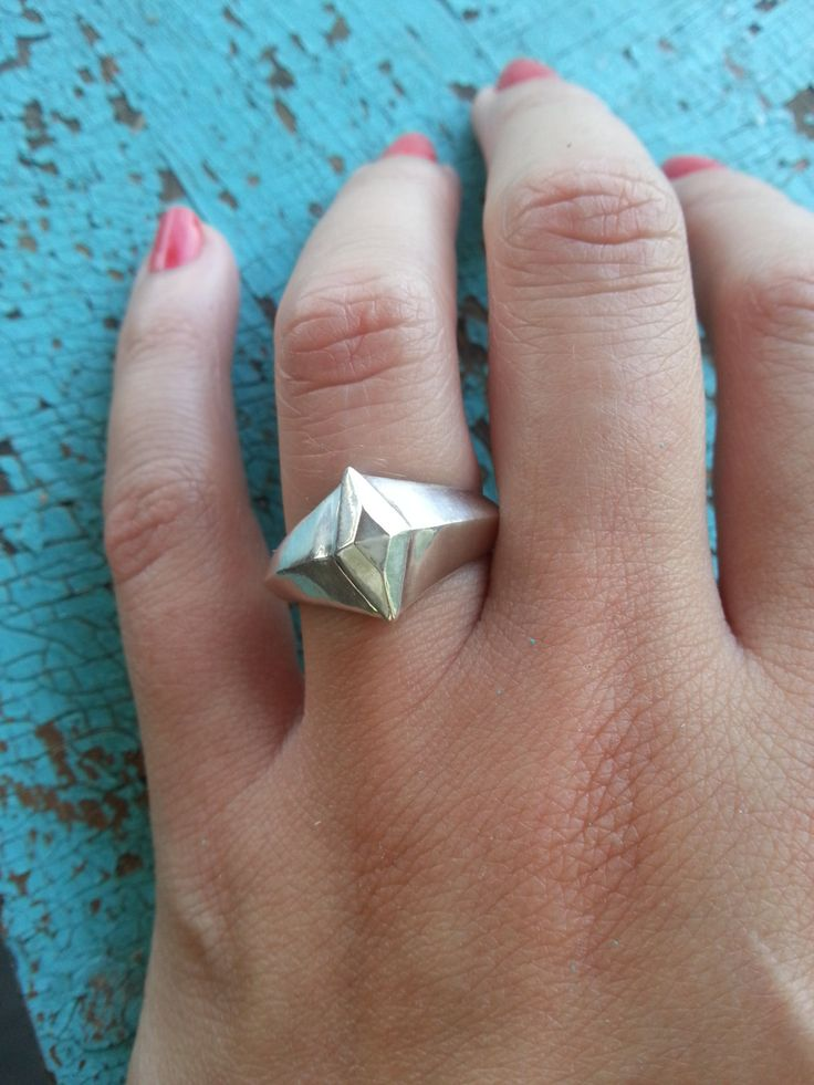 Superhero Diamond Ring in solid Sterling Silver - handmade by XanneFran on Etsy
