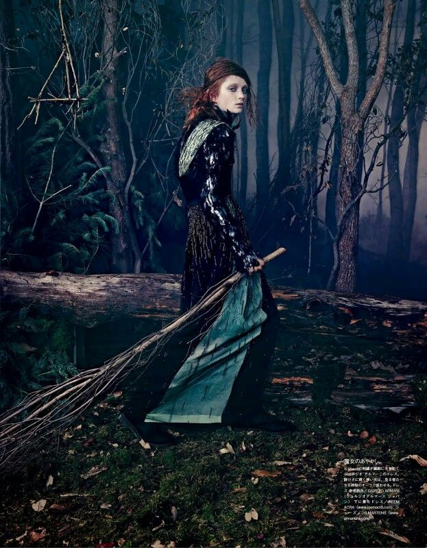 "The Look: ""Into the Woods"" by Emma Summerton for Vogue Japan October 2014. Styling by Giovanni Battaglia Hair by Rutger, make-up by Marla Belt, manicure by Alicia Torello."