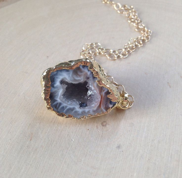 Geode Necklace on Gold Filled Chain: Geode Jewelry, Geode Necklace, Geode Half Pendant, Geode Slice, Geode Half, Geode Pendant, Small Geode by MalieCreations on Etsy