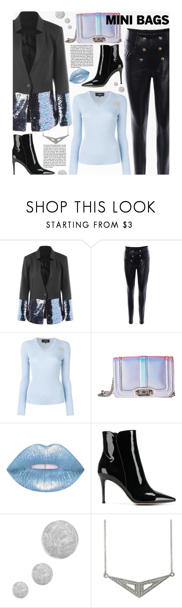 """""""So Cute: Mini Bags"""" by beebeely-look ❤ liked on Polyvore featuring Rochas, Rebecca Minkoff, Lime Crime, Gianvito Rossi, Andrea, Topshop, Heels, Sequins, fallfashion and minibags"""
