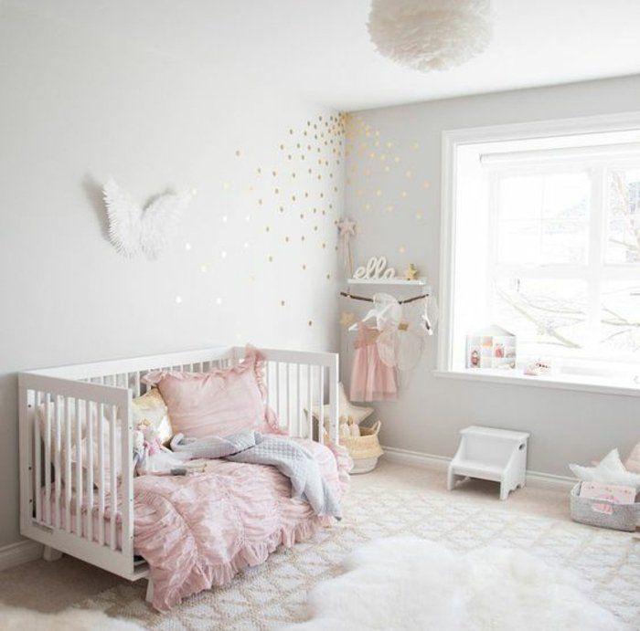 decoration chambre fille peinture murale gris et blanc