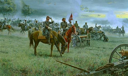 """Forming the Line"" Alexander and Longstreet at Gettysburg July 3, 1863 by Mort Künstler"