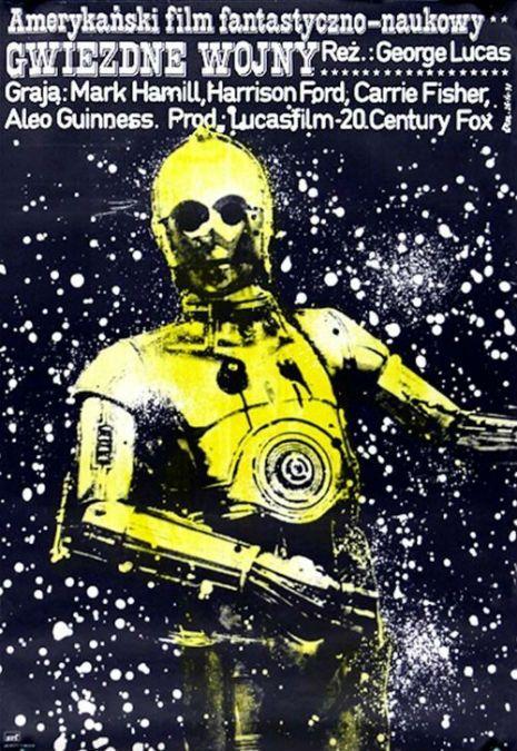 Fantastic Polish movie posters of well-known American films, Star Wars by Jakub Erol, 1977.