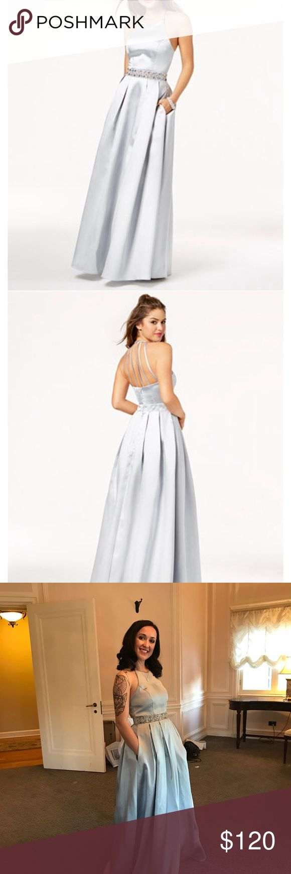 "Satin silver, embellished gown. Like new! Wore for maid of honor dress. It has no alterations and is very long! I'm 5'2"" and my 6"" heels didn't cut it! Fits great and has POCKETS!!! Love this dress so much! Find details on Macy's website. Dresses Prom"