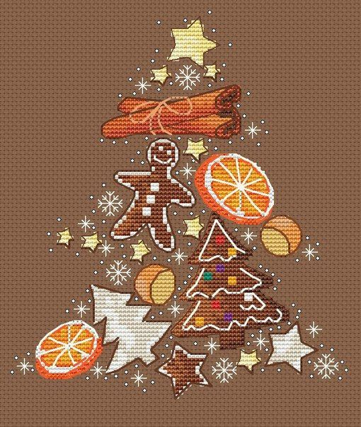 Gingerbread tree. I bet this would be pretty stitched on a grey linen.
