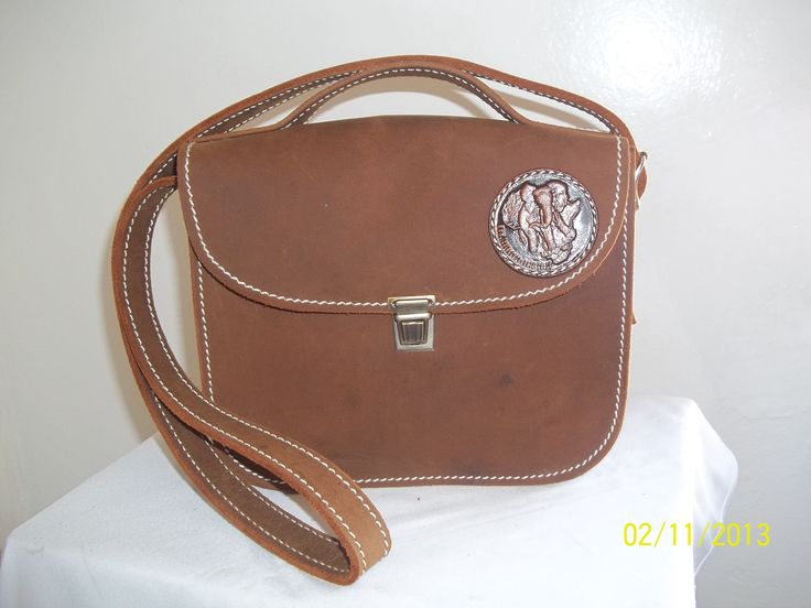 Crazy horse Leather satchel with sling