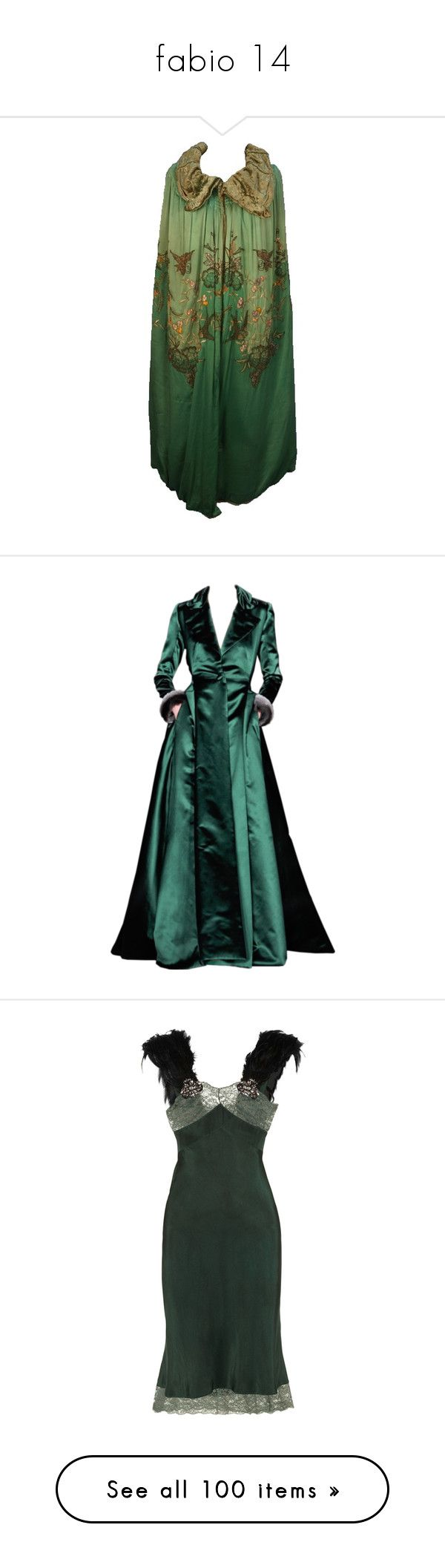 """""""fabio 14"""" by hogwartsdragoness ❤ liked on Polyvore featuring outerwear, cape, dresses, jackets, coats, gowns, long dress, vestidos, green color dress and green ball gown"""