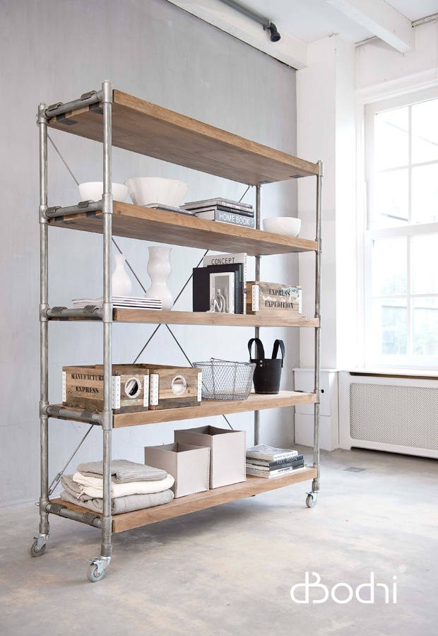 Castors always come in handy. Dbodhi shelving. d-bodhi is available at Journey East http://journeyeast.com/
