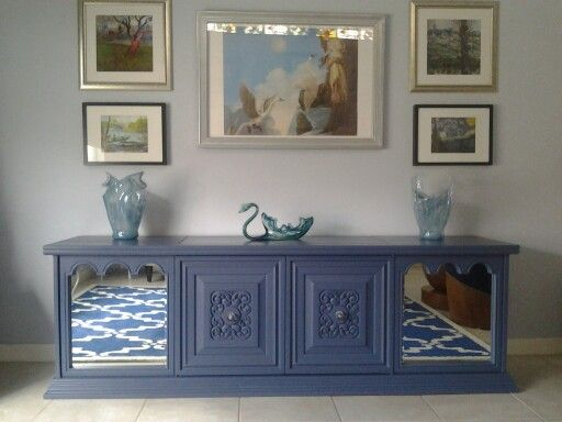 Blue Painted Stereo Console. Maybe A Credenza Now. This Was A Dated Spanish  Style 70u0027s Piece That No Longer Worked. It Didnt Have A Mid Century Loou2026