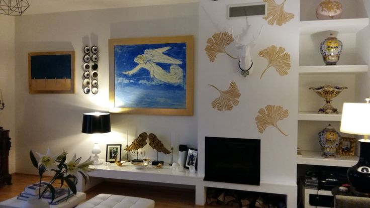 Our living room - gingko stencil