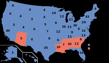 1964, Lyndon B. Johnson (D) - 486 EV / 43,127,041 (61.1%) PV, Barry Goldwater (R) - 52 EV / 27,175,754 (38.5%) PV