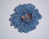 Light blue felt flower brooch with wool threads