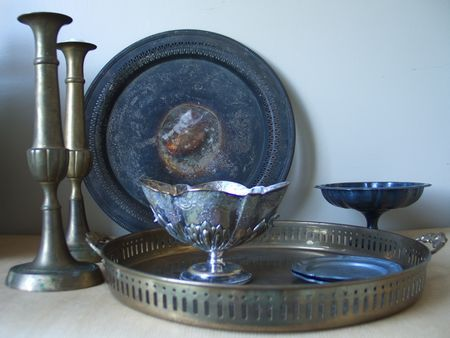 Makeover thrift store pieces for creepy serving dishes and decor.Wiccan Altar