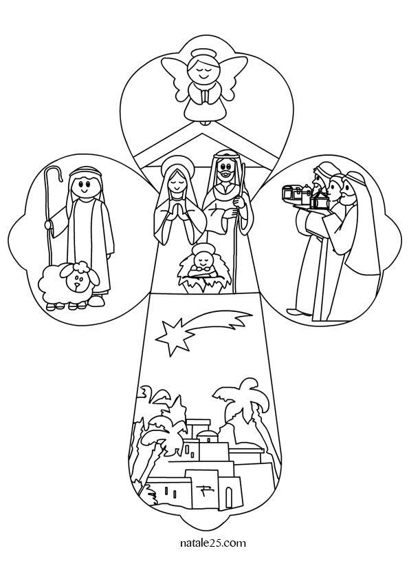 Croce con Natività da colorare