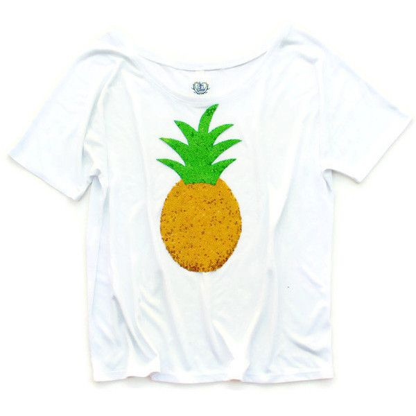 Pineapple Tee T Shirt Sequin Pineapple Patch Tee Slouchy Pineapple Tee... ($42) ❤ liked on Polyvore featuring tops, t-shirts, pineapple, white, women's clothing, star shirt, chevron t shirts, pineapple shirt, chevron shirt and heart shirt