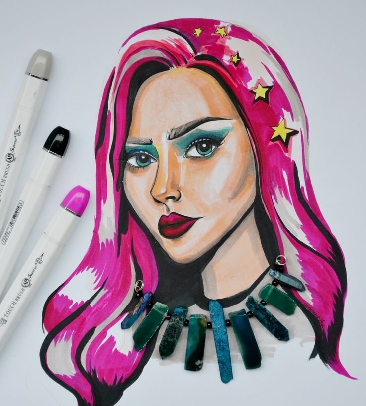 Sketched with  Markers by Marina N. Art , drawing, illustration. Рисунок маркером. портрет.