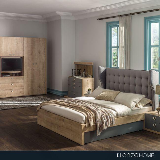 Safir meşe, nehir gri ve somon renginin birleşiminden oluşan masalsı uyum; Mayfair Yatak Odası… #Mayfair #YatakOdası #Yatak