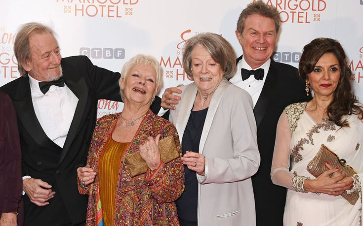 Ronald Pickup, Dame Judi Dench, Dame Maggie Smith, director John Madden and Lillete Dubey attend The Royal Film Performance and World Premiere of The Second Best Exotic Marigold Hotel
