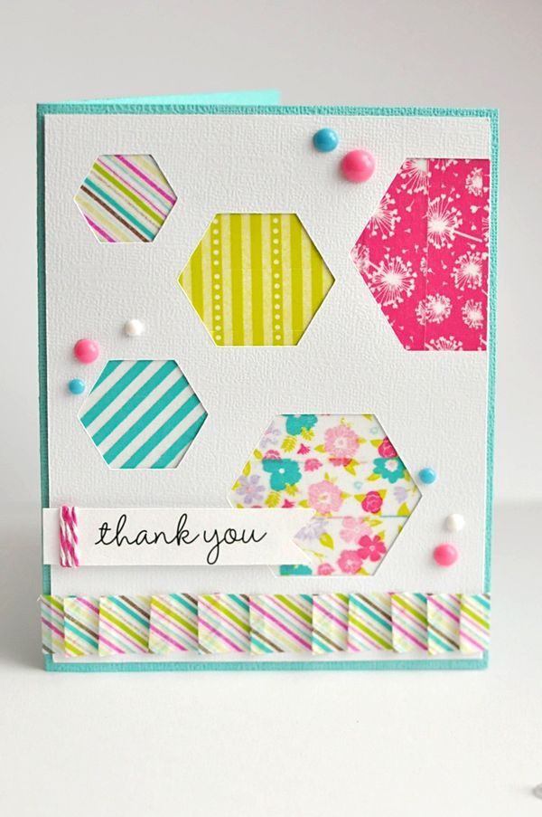 Thank You Card by Ginger Williams for Queen and Company #washi #queen&co