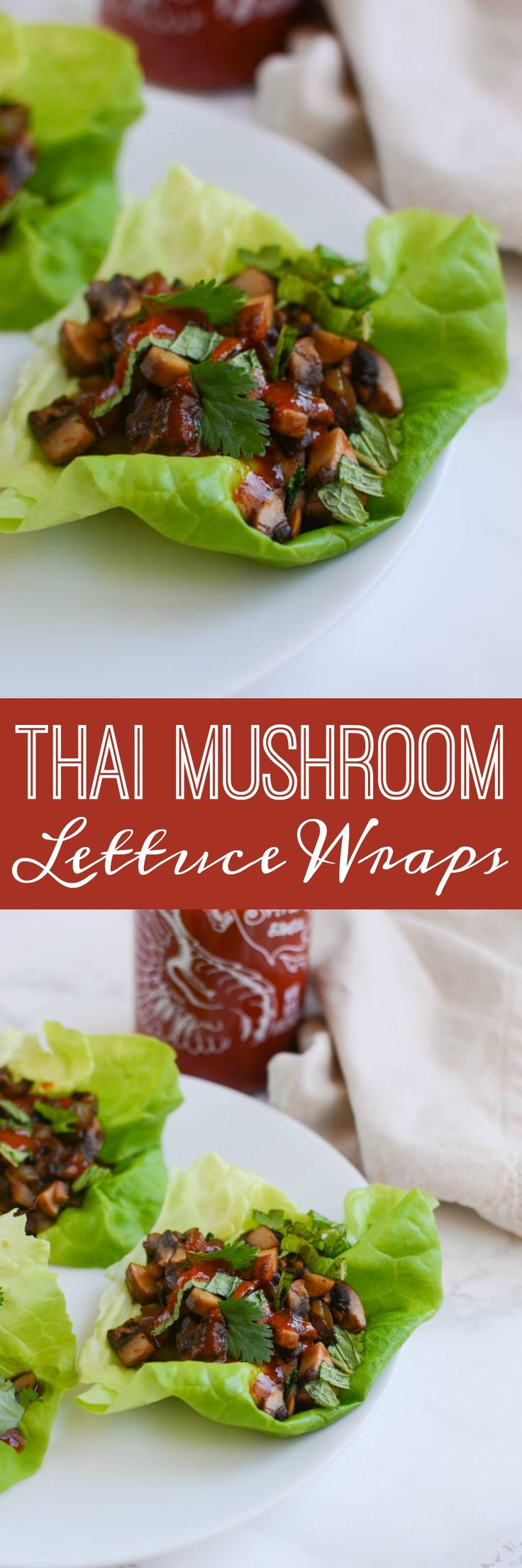 Thai Mushroom Lettuce Wraps - delicious meatless lettuce wraps! Healthy, quick, and cheap!: