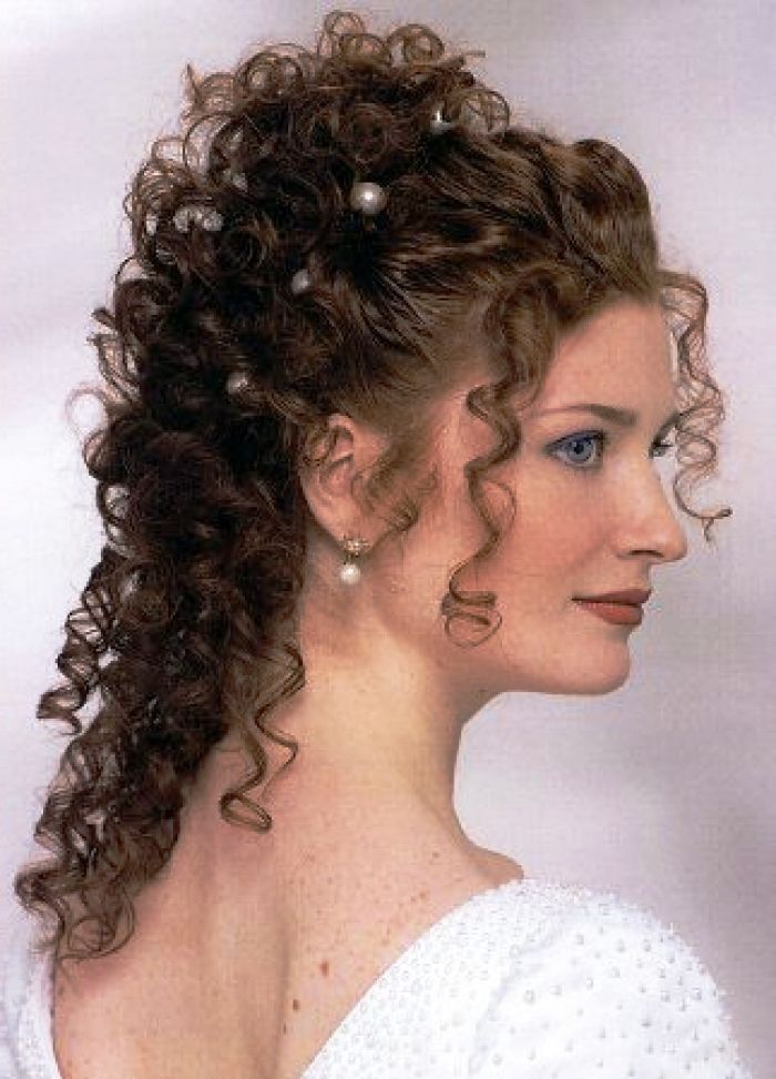 Long Curly Wedding Hairstyle with Tiara