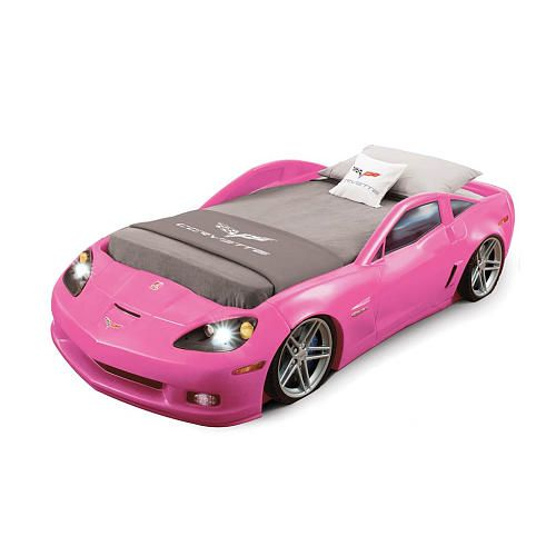 corvette toddler to twin bed with lights pink