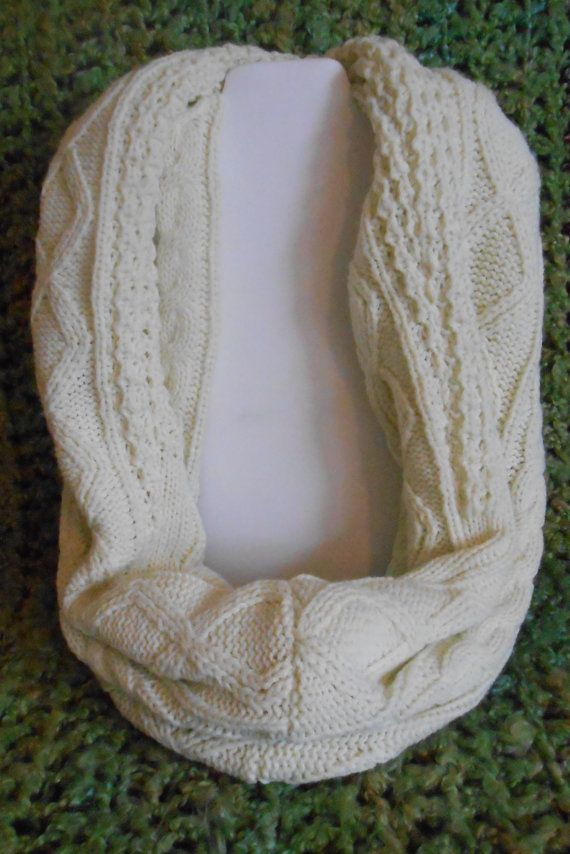 Cream Cable knit Long Infinity Scarf Womens Mens or teens by  Knit Scarves For Teenagers