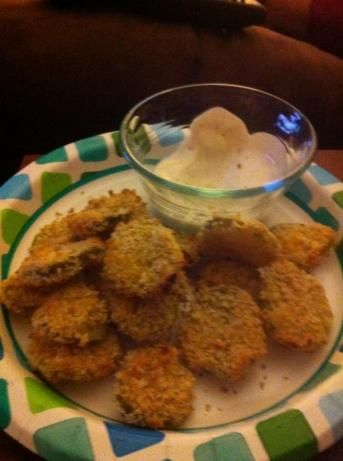 "Oven Baked ""Fried"" Pickles.Made these yesterday for super bowl and everyone loved them. @Mel"