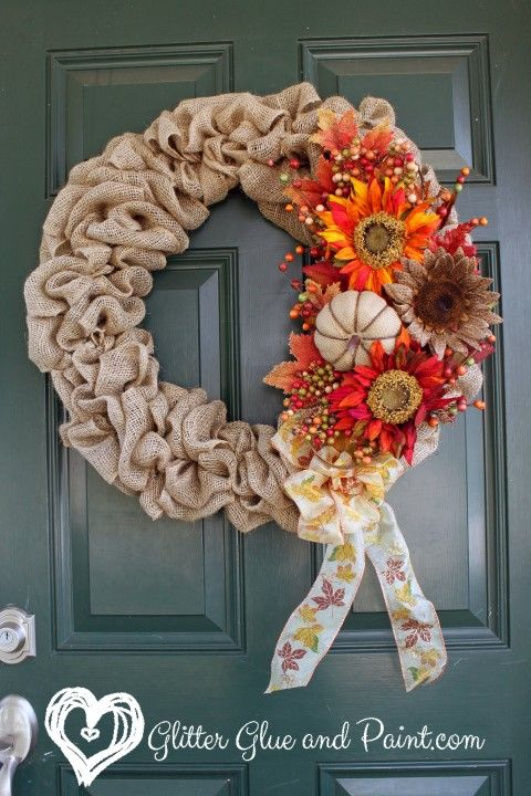 Adorable and colorful wreath from Glitter Glue and Paint. Come see the 25 bloggers' porches we are featuring for autumn! Stop by Front Porch Ideas and More