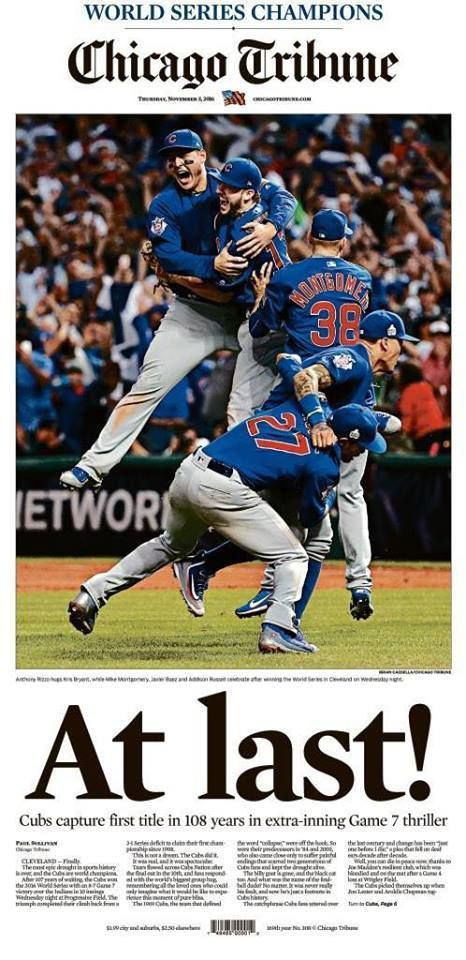 Cubs World Series Win November 2, 2016