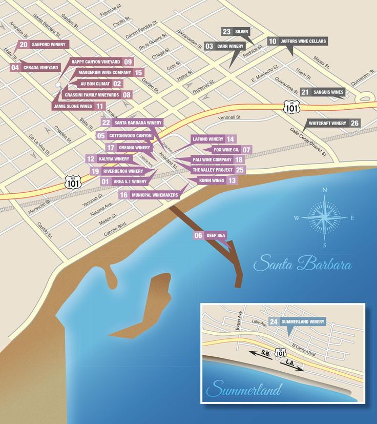 URBA WINE TRAIL - A map of downtown Santa Barbara wineries