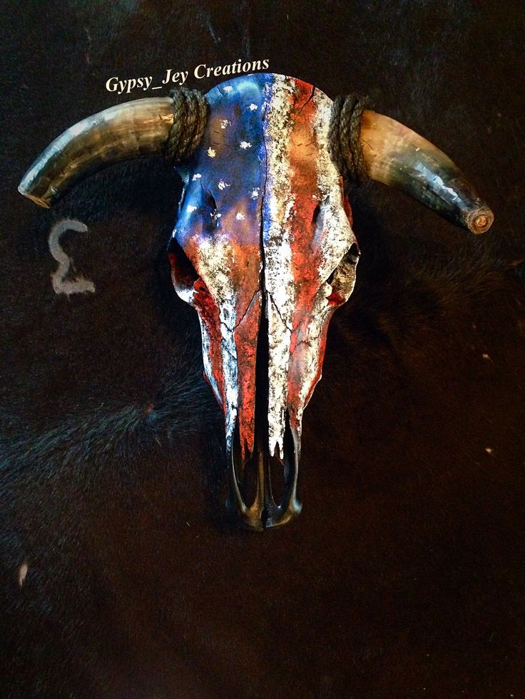Custom order made by facebook.com/gypsyjey Patriotic American Flag Cow skull…