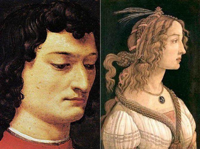 Слева – Аньоло Бронзино. Портрет Джулиано Медичи. Справа – Сандро Боттичелли. Портрет молодой девушки (Симонетта Веспуччи), 1475-80 После их переезда во Флоренцию молодую красавицу не могли оставить без внимания, её благосклонности добивались многие знатные мужчины города, среди её поклонников был и флорентийский правитель Лоренцо Медичи. Но её сердце было отдано его младшему брату Джулиано. Им восхищалось всё женское население города, от знатных дам до горожанок – он был красив, статен…