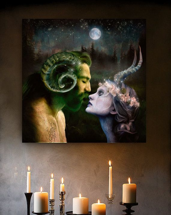 Love Horned God Goddess Art print altar magic pagan wicca