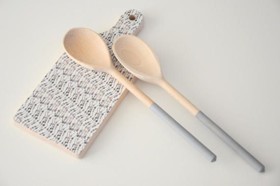 Set of kitchen cutting board and  wooden spoons  / set salad serve / cutting board / kitchen cutting board