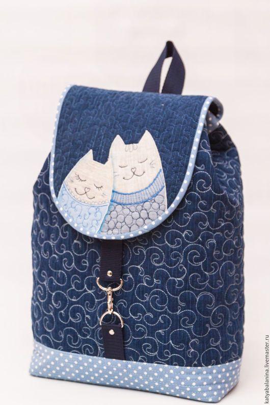 Рюкзаки ручной работы. Ярмарка Мастеров - ручная работа. Купить Джинсовый рюкзак Март в горошек. Handmade. Тёмно-синий