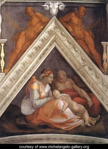 """""""Ancestors of Christ - Zerubbabel with parents and a brother""""; portrait painted by Michelangelo Buonarroti. During the prophetic times of Haggai and Zechariah, """"Zerubbabel, as a descendant of David, symbolized the continuation of the line of David, even though he was no more than a 'governor of Judah' not a king. That line would continue down to the Messiah Himself, Jesus Christ."""" Understand Why You Believe, The Apologetics Study Bible, CSB, Holman Bible Publishing."""