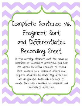 complete sentences sorting activities and sentences on pinterest. Black Bedroom Furniture Sets. Home Design Ideas