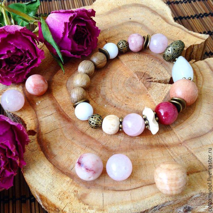 """Купить Браслет """"Нежность Роз"""" - бледно-розовый, подарок, подарок девушке, подарок на любой случай"""