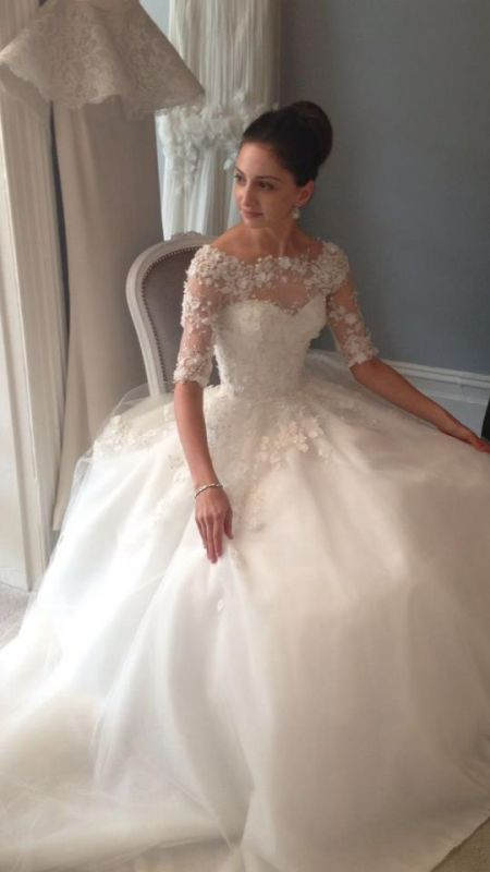 Wedding gown with lace sleeves by Steven Khalil. This gown (& the bride!) are absolutely stunning.