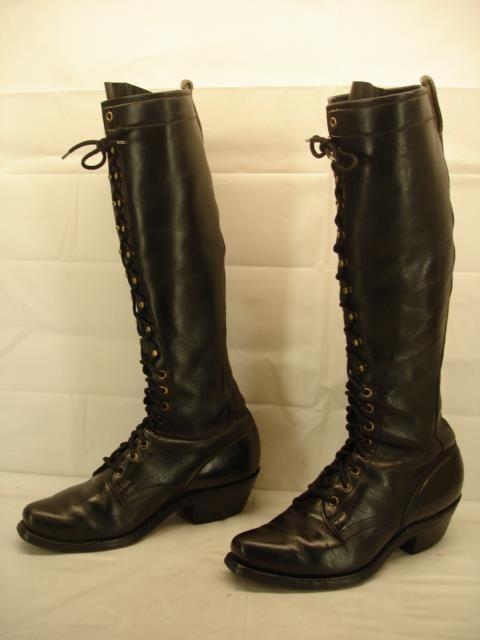 mens 8.5 M Dayton Boots Sidekick black leather knee high packer motorcycle work #Dayton #WorkSafety
